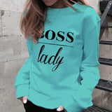 New Fashion Crew Neck Boss Lady Letter Printed Shirt Long Sleeve Casual Loose Pullover Sweatshirt S~5XL