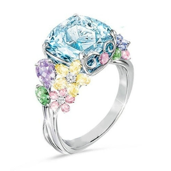 Dazzling Colorful Gemstone 925 Sterling Silver Ring Birthstone Jewelry  Engagement Bride Wedding Ring  Anniversary Gift Size 5-11