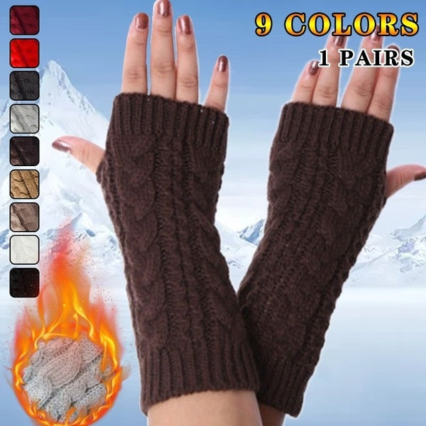Women Men Gloves Stylish Hand Warmer Winter Gloves  Arm Crochet Knitting Mitten Fingerless Gloves 1Pair
