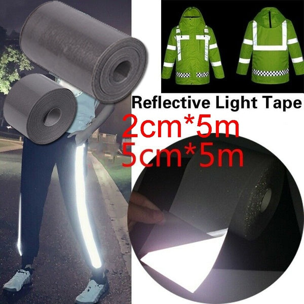 Iron On Reflective vinyl tape DIY 5meters Silver Fabric Reflective Warning Tape Safety Sewing Trim Sticker DIY Clothing Bag Hand Craft