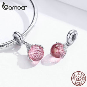 Branded New Pink Series Lovely Sweet Flower Magic Bottle Floret Dancing Butterfly Sterling Silver Pink Zircons Jewelry Diy Bracelet Necklace Charms Pendants
