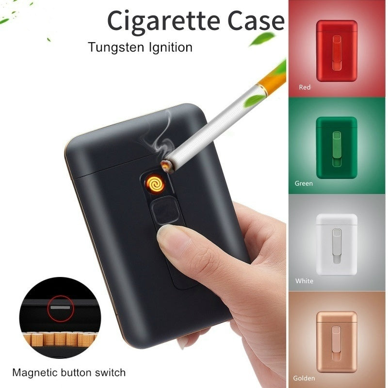 Creative Stylish Cigarette Case with USB Electriv Lighter, Large Capacity Cigarette Box with Lighter for 20pcs Regular Cigarettes/ Slim Cigarettes Gadgets For Men&Women