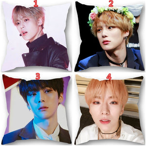 18 Inches Korean Fashion Popular Idol MONSTA X Pattern Polyester Decorative Pillow Case Single-sided Printing Sofa Car Pillow Cover Home Decorative