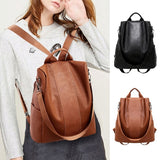 Women Backpack Waterproof Travel Bag Anti-theft Backpack PU Lightweight School Shoulder Bags