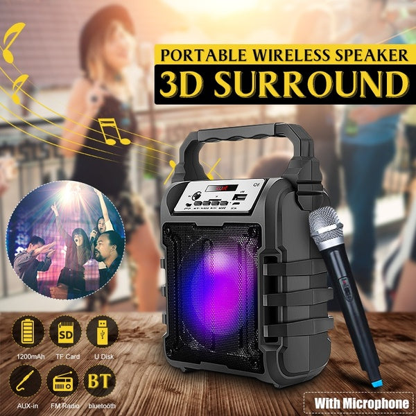 Portable Karaoke Speaker 3D Wireless bluetooth Speaker System Bass Subwoofer With/ Without Microphone Support Hands-free/USB/TF Card/AUX/FM Karaoke Machine For Outdoor Activities Home Party