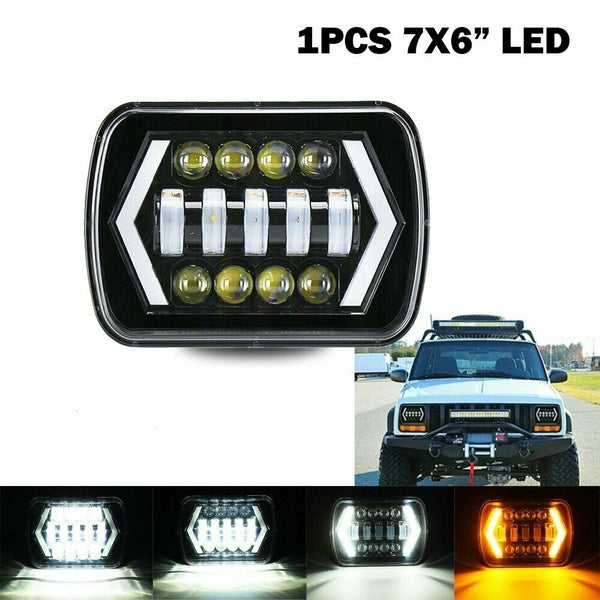 55W 7x6 5X7' LED Projector Headlight Hi-Lo Beam Halo DRL For Jeep Cherokee Truck
