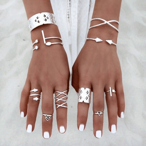 8pcs Silver Bohemian Vintage Knuckle Boho Tribal Ethnic Hippie Rings Set