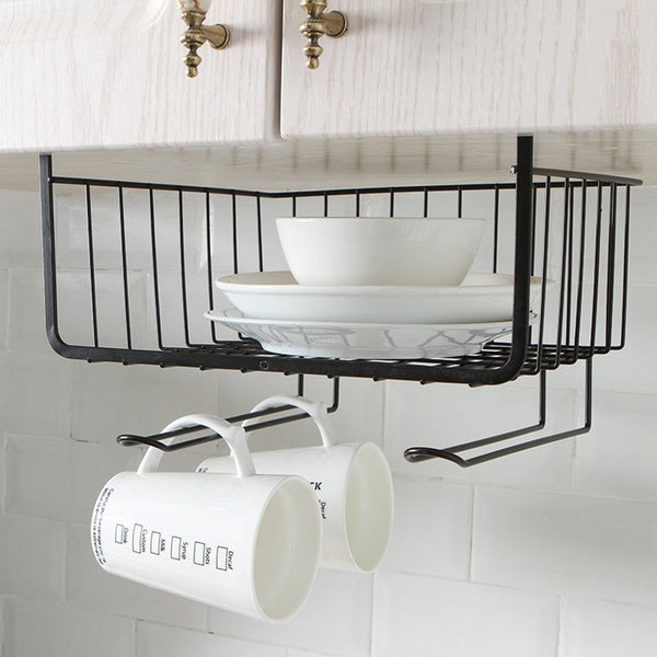Kitchen Storage Bin Under Shelf Wire Rack Cabinet Basket Organizer Holder Stand
