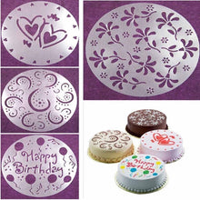 Load image into Gallery viewer, 4Pcs/set Spray Cake Mould Kitchen Variety Cake Cupcake Stencil Template Mold Birthday Decoration