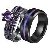 Couple Ring -  Women's 18k Black Gold Filled Amethyst and  Men's Titanium Steel Ring Women's Wedding Ring Set