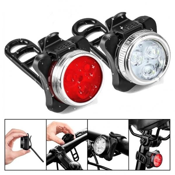 New Fashion Bicycle Bike USB Rechargeable Highlight Front Rear Light Safety Warning Lamp
