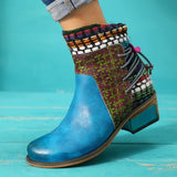 New Fashion Women Low Heel Short Boots Vintage Color Block Lace Up Round Toe Ankle Boots Female Autumn and Winter Comfortable Shoes Plus Size 34-43 Botas Feminina/botines De Mujer