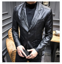 Load image into Gallery viewer, Men Fashion Leather Jacket Long Sleeve Solid Color Clothing Leather Coat Jcket S-3XL
