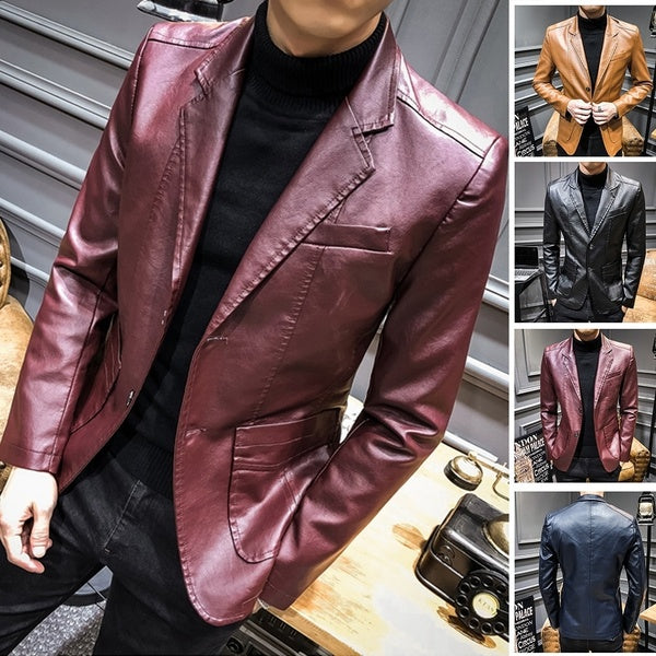 Men Fashion Leather Jacket Long Sleeve Solid Color Clothing Leather Coat Jcket S-3XL