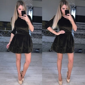 Women Long Sleeve Dress Autumn Gold velvet Dress Solid Color Dress