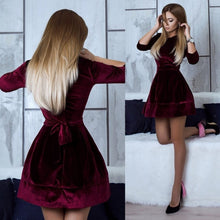Load image into Gallery viewer, Women Long Sleeve Dress Autumn Gold velvet Dress Solid Color Dress