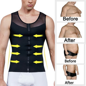 Mens Chest Compression Shirt Slimming Body Shaper Vest Workout Tank Tops to Hide Gynecomastia Moobs