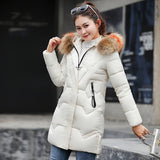 New Fashion Thicken Medium-long Slim Fit Down Jacket Women Big Fur Collar Long Sleeve Zipper Cotton Coat Hooded Long Parkas Jacket Winter Coat Outwear