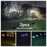 New 2/1PCS Waterproof Solar Fireworks Lights With 8 Lighting Modes String Light Garden Solar Firework Light For Outdoor Patio Pathway Yard Decor