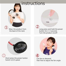 Load image into Gallery viewer, 2019 NEW Neckband Fan Hand Free Mini Neck Double Fans Portable Neckband Mini Fan with USB Rechargeable for Indoor Outdoor
