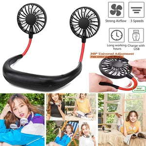 2019 NEW Neckband Fan Hand Free Mini Neck Double Fans Portable Neckband Mini Fan with USB Rechargeable for Indoor Outdoor