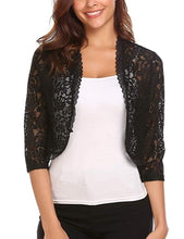 Load image into Gallery viewer, 2019 New Fashion Women Casual Half Sleeve Short Cardigan Cropped Lace Tops Front Open Elegant Bolero Crochet Shrug Mesh Hollow Out Solid Color Slim Fit Shirt Evening Party Plus Size