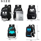 Hot Night Light Marshmello Canvas Lover Backpack with USB Charger School Bags for Teenagers Boys Girls Big Capacity School Backpack Lover Waterproof Satchel Kids Book Bag