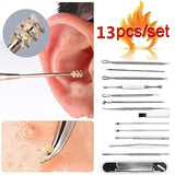 13PCS/Set Blackhead Whitehead Pimple Spot Comedone Acne Extractor and Stainless Steel Spiral Portable Earpick Spoon Ear Wax Remover Cleaner Ear Care Beauty Tool Kit