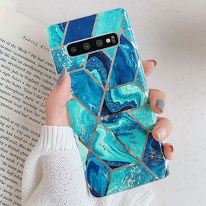 Fashion Geometric Marble Texture Phone Cases For Samsung Galaxy S10Plus S10e S10 S9Plus S9 Note10Pro Note10 A40 A50 A70 Electroplated Back Cover For iPhone Xs Max Xr Xs X 8Plus For Huawei P30Pro P30Lite P30 Mate20 Pro Mate20 Lite Etc