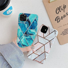 Load image into Gallery viewer, Fashion Geometric Marble Texture Phone Cases For Samsung Galaxy S10Plus S10e S10 S9Plus S9 Note10Pro Note10 A40 A50 A70 Electroplated Back Cover For iPhone Xs Max Xr Xs X 8Plus For Huawei P30Pro P30Lite P30 Mate20 Pro Mate20 Lite Etc