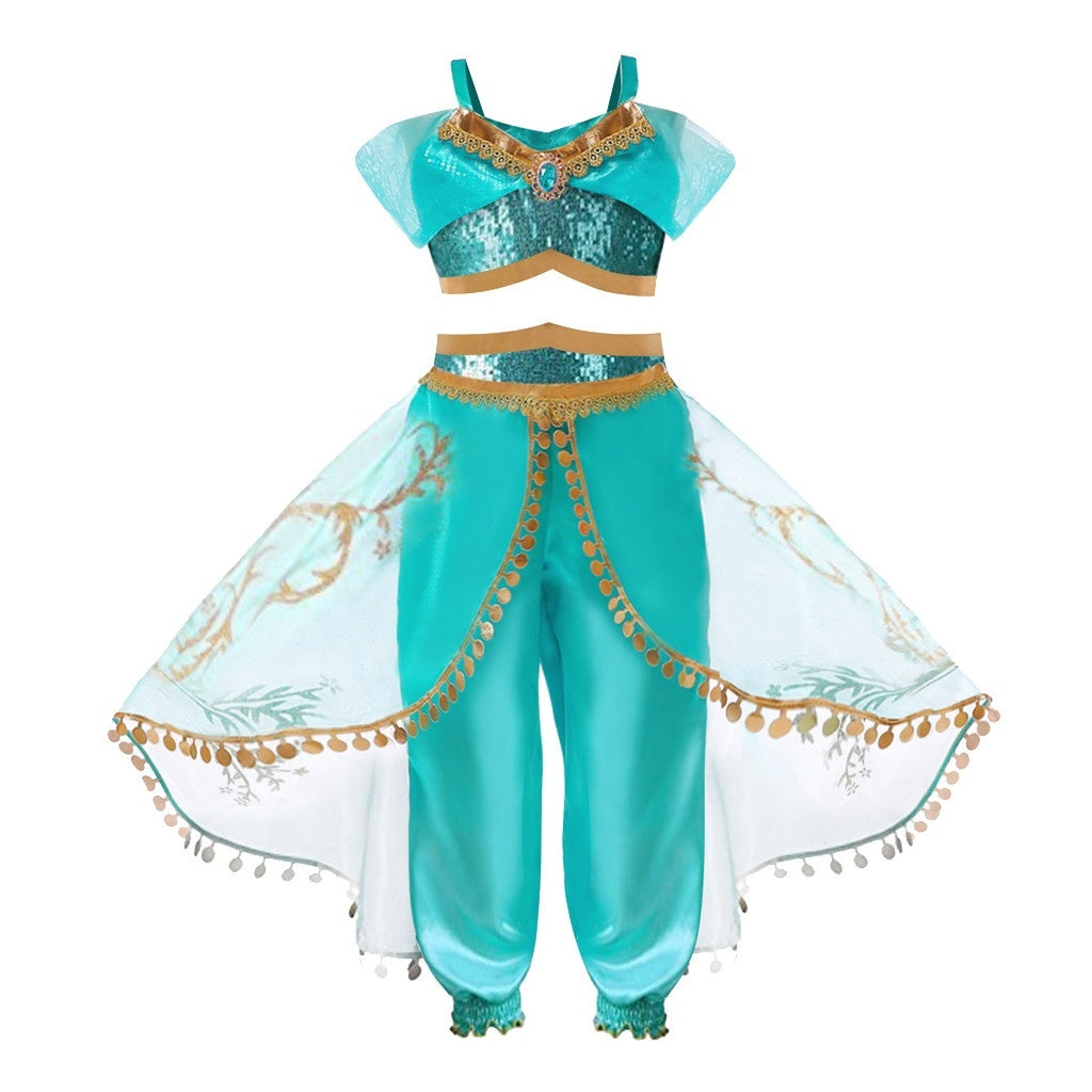 Girl Dress Summer Princess Arab Jasmine Dress up Costume Kids Kid Party Cosplay Sleeveless Sequin Fancy