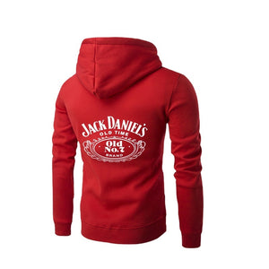 New Men Jack Daniel's Classic Label Casual Letter Printed Zipper Hoodies Long Sleeve Plus Size Sweatshirts Loose Sports Pullover Tops