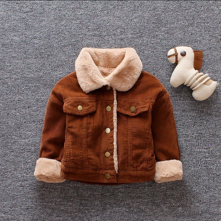 Winter Warm Children's Coat Boys Winter Clothes Kids Lovely Casual Furring and Thickening Long Sleeved Jacket Outwear 1-3Years