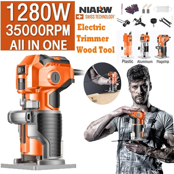 30000RPM 1/4'' electric manual trimmer wood laminate palm router woodworking tools 220V 680W / 1080W / 1280W