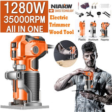 Load image into Gallery viewer, 30000RPM 1/4'' electric manual trimmer wood laminate palm router woodworking tools 220V 680W / 1080W / 1280W
