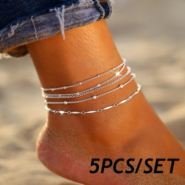 5Pcs/set Exquisite Silver Ankle Bracelet Multilayer Beaded Anklets Set Summer Beach Ankle Chain Women Foot Jewelry