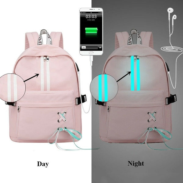 Fashion Anti Theft Reflective Waterproof Women Backpack USB Charge School Bags For Girls Travel Laptop Rucksack Bookbags Tassel Bow Backpac