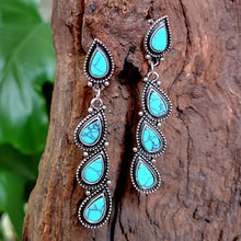 Load image into Gallery viewer, Retro Women 925 Sterling Silver Natural Gemstone Water droplets Turquoise Earrings Jewelry Anniversary Gift Engagement Wedding Earrings Jewelry