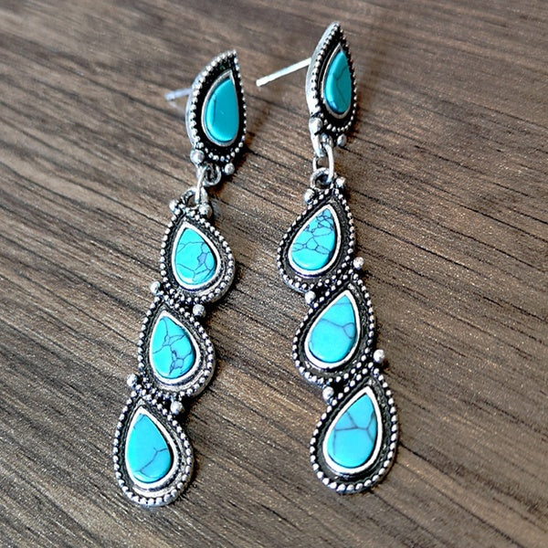 Retro Women 925 Sterling Silver Natural Gemstone Water droplets Turquoise Earrings Jewelry Anniversary Gift Engagement Wedding Earrings Jewelry