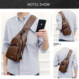 1 Men's Sling Shoulder Bag PU Leather Outdoor Chest Bag with USB Port Casual Crossbody Bag