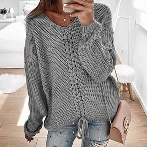 Women Long Sleeve V Neck Sweaters Autumn Tops