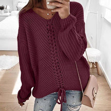 Load image into Gallery viewer, Women Long Sleeve V Neck Sweaters Autumn Tops