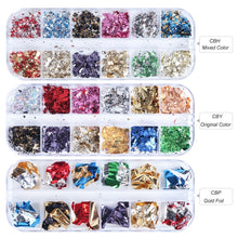 Load image into Gallery viewer, 12 Grids/Set Mixed Color Holographic Nail Stickers Decals Starry Sky Transparent Nail Foils Tinfoil Paper Nail Glitter Flakes 3D Sequins Paillette Powder Nail Art Decoration Manicure Accessories