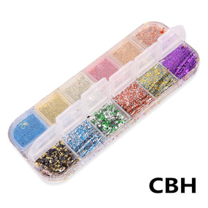 12 Grids/Set Mixed Color Holographic Nail Stickers Decals Starry Sky Transparent Nail Foils Tinfoil Paper Nail Glitter Flakes 3D Sequins Paillette Powder Nail Art Decoration Manicure Accessories