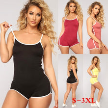 Load image into Gallery viewer, Women's Summer Sexy Sleeveless Rompers Ladies Solid Color Short Jumpsuits Slim Siamese Gym Fitness Bodycon Bodysuit Plus Size S-3XL