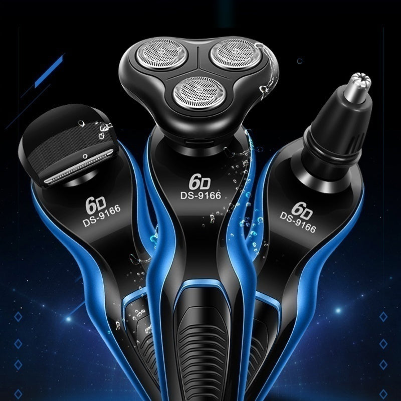 Men's 6D 4 In 1 Electric Shaver Rechargeable Washable Hair Trimmer Cordless Wet and Dry Nose Hair Trimmer