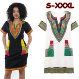 New Fashion Women Traditional Tribal African Print Dashiki Style Short Sleeve Party Bodycon Hippie Dress