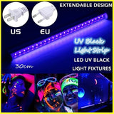 LED UV Black Light Fixtures DJ Equipment 30cm Black UV Light Bar 24 LED Strip Lights Party Club Stage Blacklight Halloween Home Decor