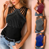Sexy Women Studded Detail Multi-Strap Casual Blouse