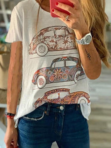 New Women's Fashion Car Print Graphic Short Sleeve Shirts Casual Solid Color T Shirts Tops